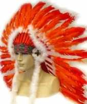 Carnavalskleding indianentooien rood oranje helmond