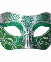 Carnavalskleding italiaans oogmasker glitter groen zilver helmond