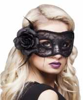 Carnavalskleding kanten oogmasker zwarte roos helmond