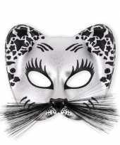 Carnavalskleding katten oogmasker zilver zwart helmond