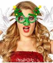 Carnavalskleding kerst accessoires fun bril groen kerstbomen volwassenen helmond