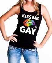 Carnavalskleding kiss me i am gay tanktop mouwloos shirt zwart dames helmond