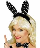 Carnavalskleding konijnen oren diadeem zwart witte stippen helmond