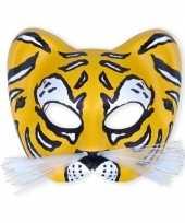 Carnavalskleding kunstof gezichtsmasker tijger helmond