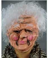 Carnavalskleding latex masker een oude vrouw helmond