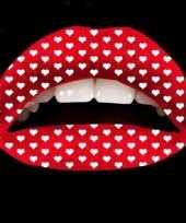 Carnavalskleding liptattoo rood hartjes helmond