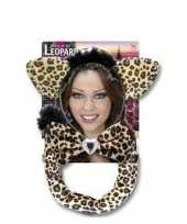 Carnavalskleding luipaarden verkleed setje volwassenen helmond