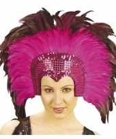 Carnavalskleding luxe hoofdtooi fuchsia roze veren volwassenen helmond