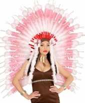 Carnavalskleding luxe roze hoofdtooi veren helmond
