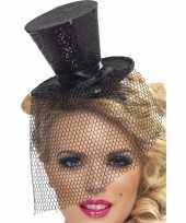 Carnavalskleding mini hoge hoed zwart diadeem helmond