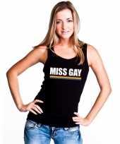Carnavalskleding miss gay mouwloos shirt zwart regenboog vlag dames helmond