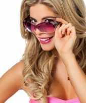 Carnavalskleding modieuze paarse feestbril glitters helmond