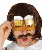 Carnavalskleding oktoberfest bier pullen verkleed bril volwassenen helmond