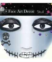 Carnavalskleding oog schmink sticker doodshoofdjes littekens glitters helmond