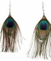 Carnavalskleding oorbelletjes pauwenveren helmond