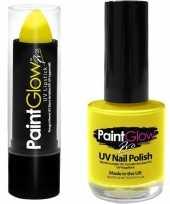 Carnavalskleding oplichtende lichtgevende lipstick nagellak set neon geel helmond