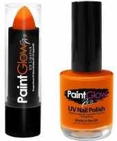 Carnavalskleding oplichtende lichtgevende lipstick nagellak set neon oranje helmond