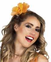 Carnavalskleding oranje bloem transparante klem helmond