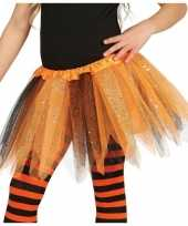 Carnavalskleding oranje zwarte verkleed petticoat meisjes helmond