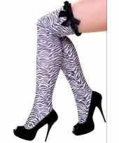 Carnavalskleding overknee kous zebra print strik helmond