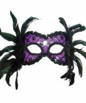 Carnavalskleding paars maskertje veren helmond