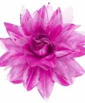 Carnavalskleding paarse bloem haarspeld glitters helmond