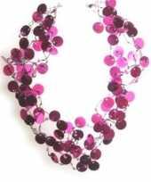 Carnavalskleding pailletten kettingen roze helmond