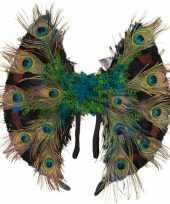 Carnavalskleding pauwenveren vleugeltjes helmond