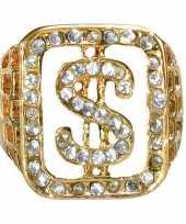 Carnavalskleding pimp ring goud dollarteken helmond
