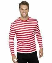 Carnavalskleding piraten t-shirt wit rood volwassenen helmond