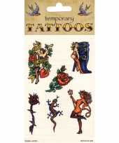 Carnavalskleding plak tatoeages biker thema helmond