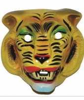 Carnavalskleding plastic tijger masker geel volwassenen helmond