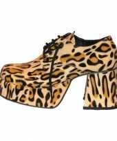 Carnavalskleding plateau schoenen luipaard print helmond