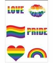 Carnavalskleding regenboogvlag kleuren nep tattoeages stuks helmond