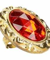 Carnavalskleding ring grote rode diamant helmond