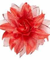 Carnavalskleding rode bloem haarspeld glitters helmond