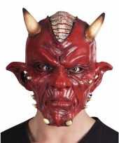 Carnavalskleding rode duivel masker lucifer volwassenen helmond