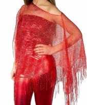 Carnavalskleding rode visnet poncho omslagdoek stola dames helmond