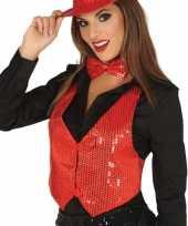 Carnavalskleding rood gilet glitters pailletten dames helmond