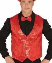 Carnavalskleding rood gilet glitters pailletten heren helmond