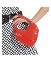 Carnavalskleding rood hartvormig handtasje helmond
