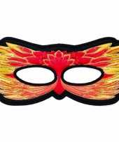 Carnavalskleding rood oogmasker een vuurvogel helmond