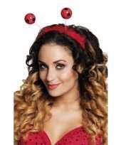 Carnavalskleding rood zwarte bol diadeem helmond