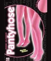 Carnavalskleding roze glitterende panty dames helmond
