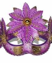 Carnavalskleding roze gouden oogmasker helmond