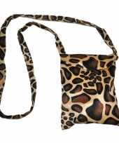 Carnavalskleding safari print schoudertas giraffe helmond