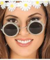 Carnavalskleding sixties zonnebril ronde glazen helmond