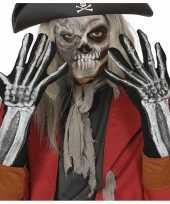 Carnavalskleding skelet horror verkleed handschoenen volwassenen helmond