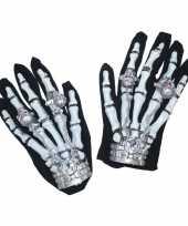 Carnavalskleding skeletten handschoenen licht helmond