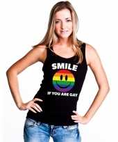Carnavalskleding smile if you are gay emoticon tanktop singlet-shirt zwart dames helmond